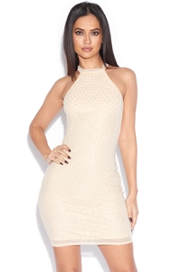 Luxe Rhinestone High Neck Bodycon Dress
