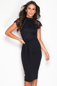 Lace Top Navy 2 in 1 Dress
