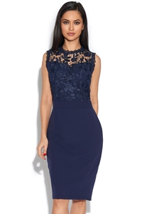 Navy Sleeveless Crochet Lace Midi Dress