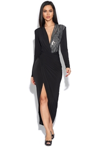 One Side Luxe Sequin Plunge Dress