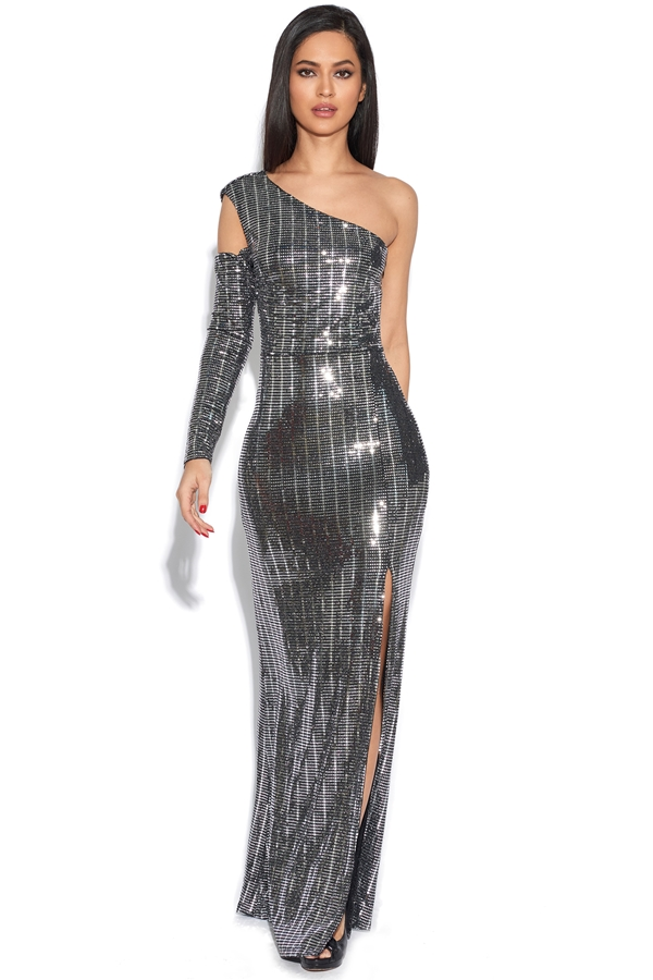 Luxe Sequin Cold Shoulder Maxi Dress