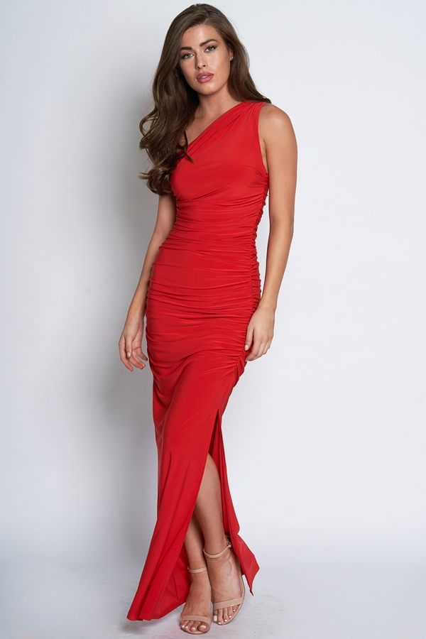 One Shoulder Ruched Maxi Dress