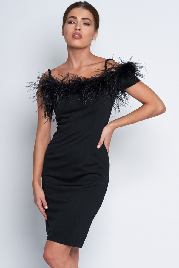 Feather Trim Bardot Dress
