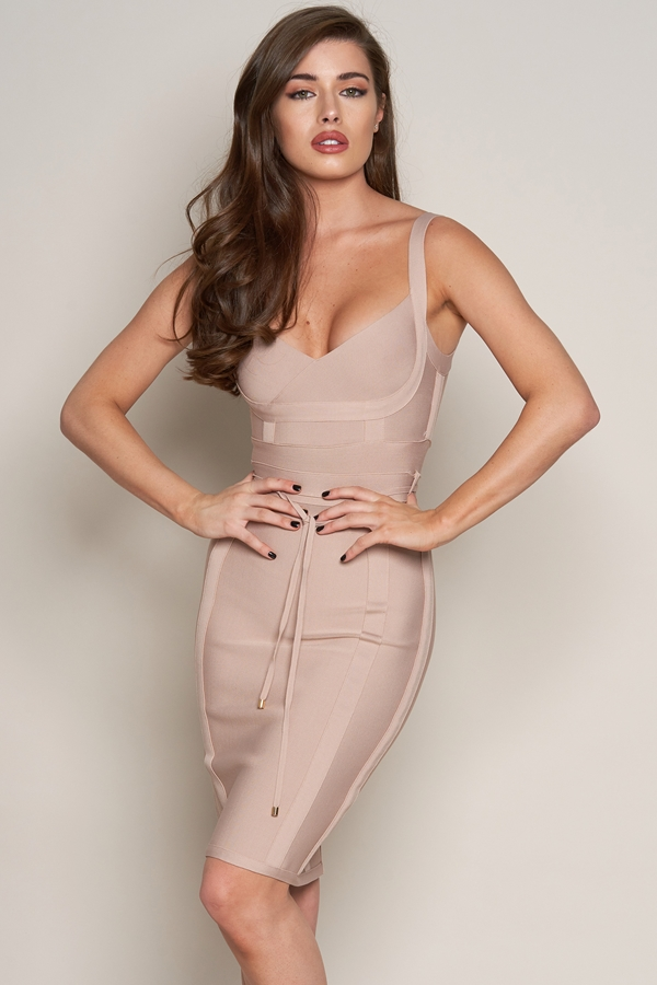 Luxe Tie Detail Bandage Dress