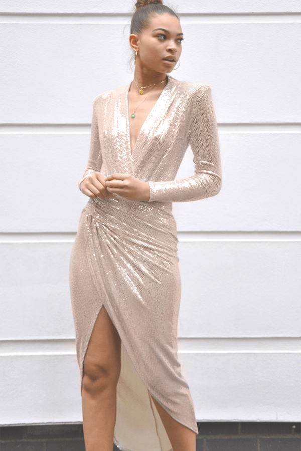 Luxe Sparkle Plunge Dress