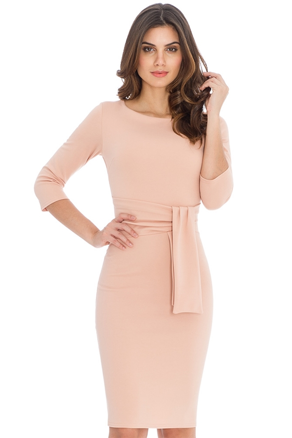 Flattering Tie Detail Pencil Dress