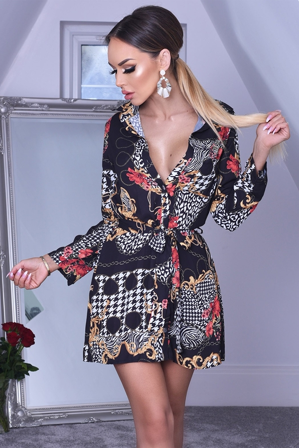 Ferrara Scarf Print Shirt Dress