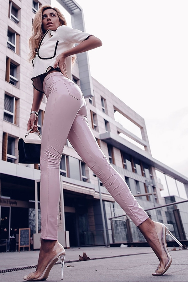 Barely There Pink Wet Look High Waist Jeggings