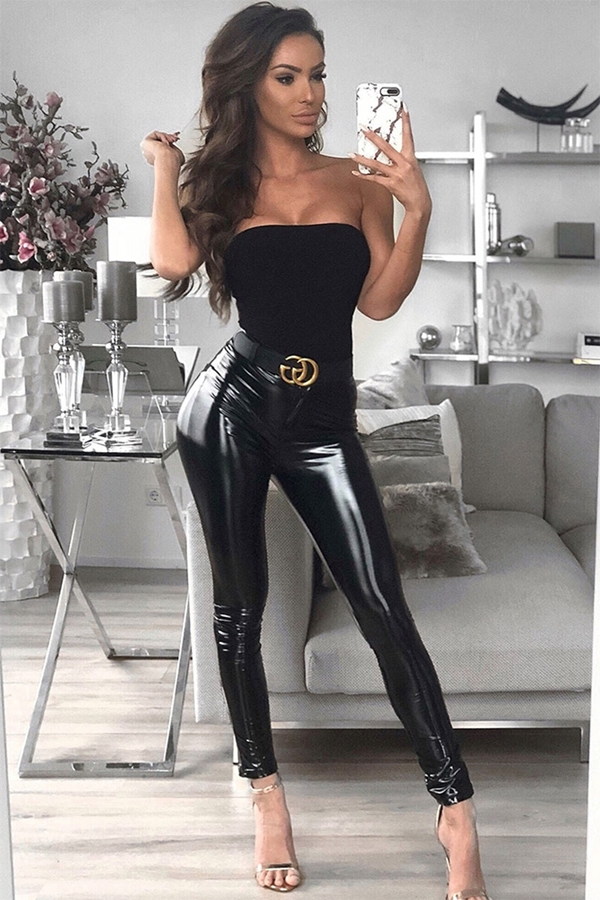 Wetlook Black PU Skinny Trousers