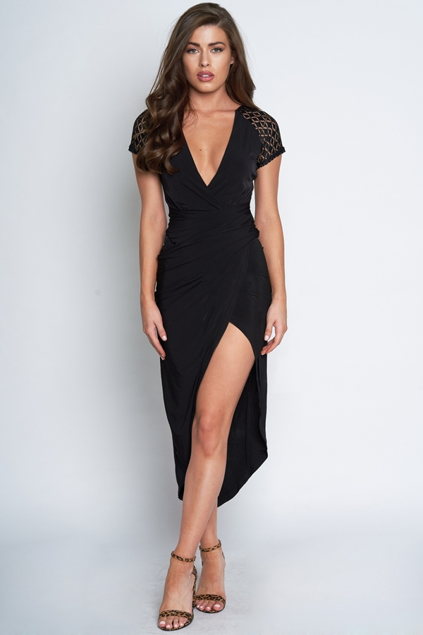 Lace Cap Sleeve Plunge Dress