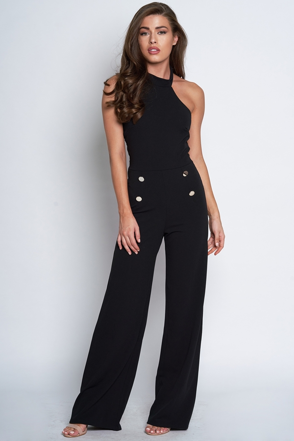 Button Detail Halter Neck Jumpsuit
