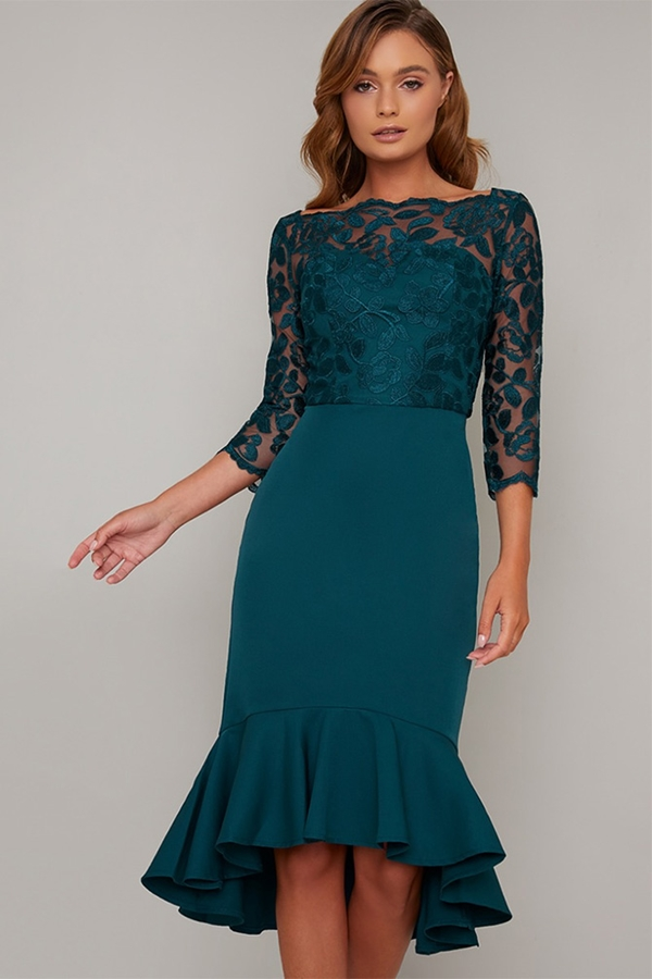 Teal Lace Detail Frill Hem Dress