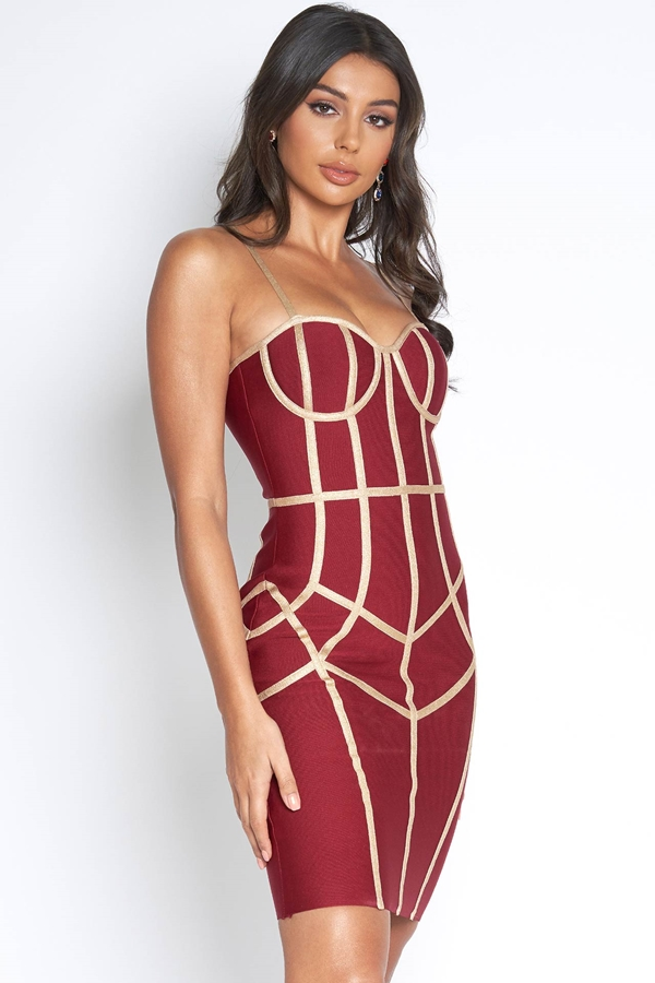 Luxe Red Bandage Dress with Gold Piping