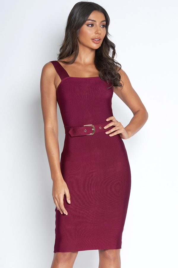 Luxe Wine Belted Bandage Dress