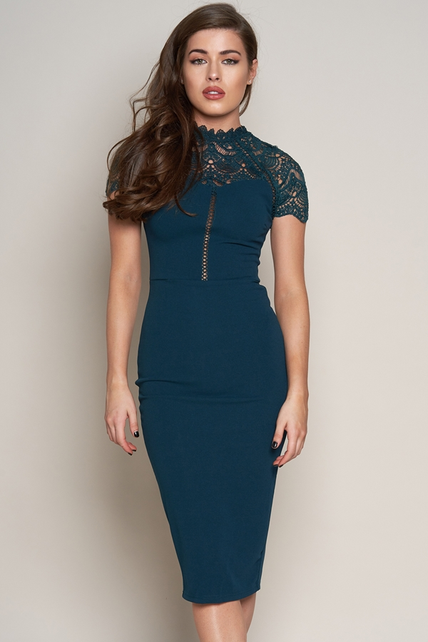 Teal Short Sleeved Lace Detail Dress