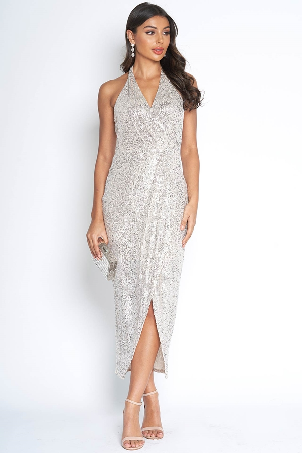 Sequin Embellished Halterneck Dress