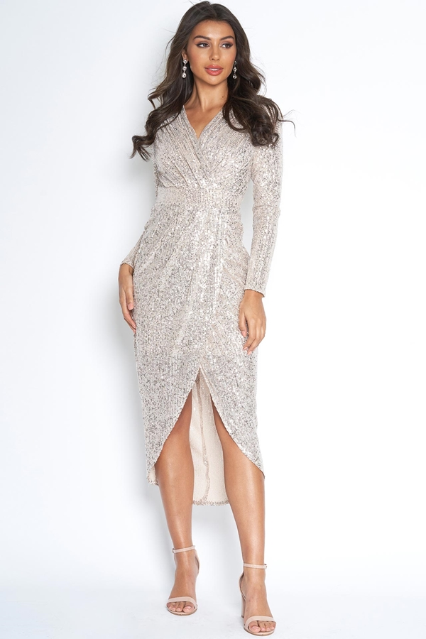V Neck Wrap Front Sequin Dress