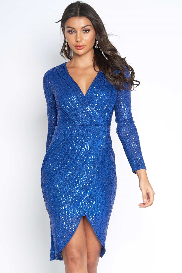 Wrap Front Sequin Dress