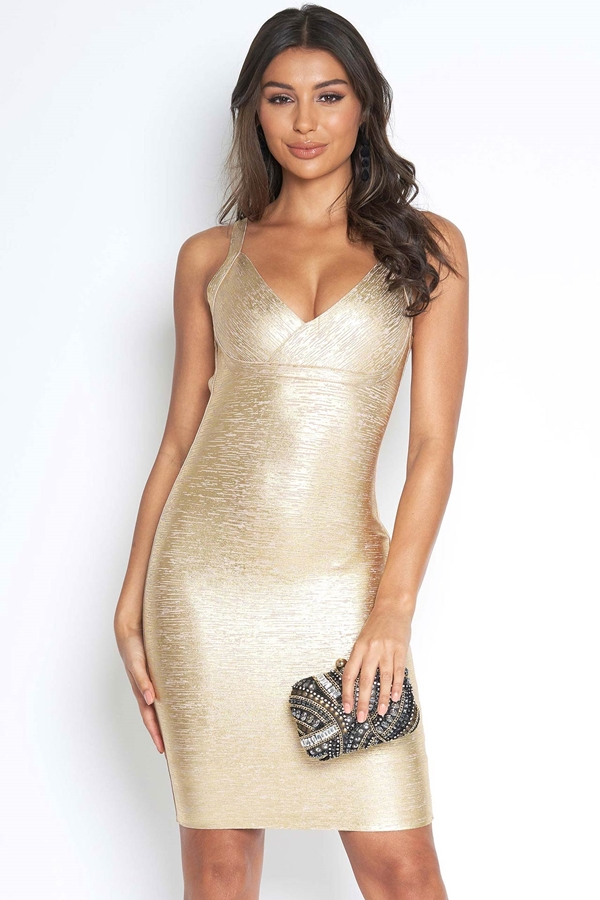 Luxe Gold Metallic Bandage Dress