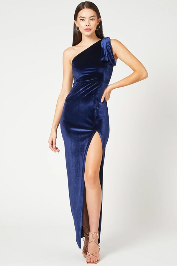 One Shoulder Navy Velvet Maxi Dress