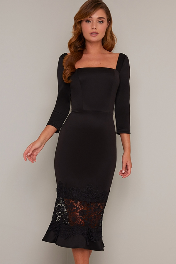 Frill Hem Lace Detail Bodycon Dress
