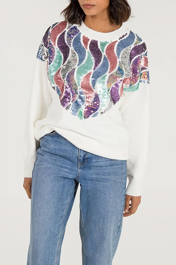 Multi Wavy Sequin Jumper
