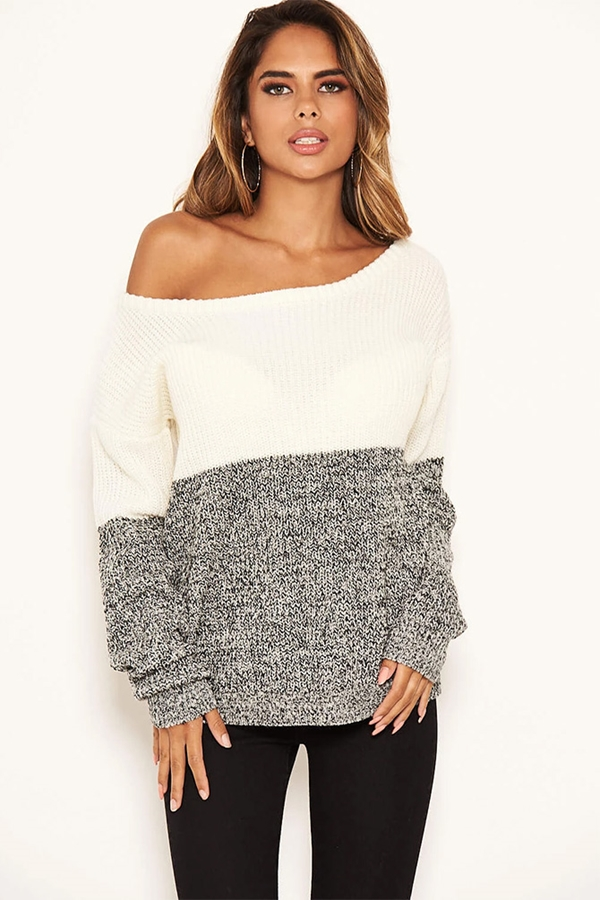 Colour Block Knit Off The Shoulder Jumper