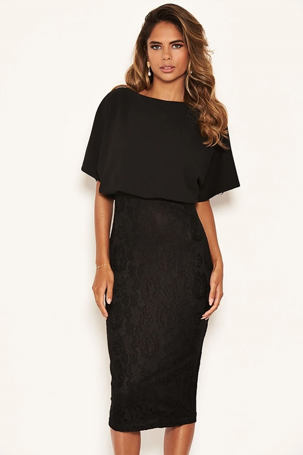 Black Batwing Lace Midi Dress