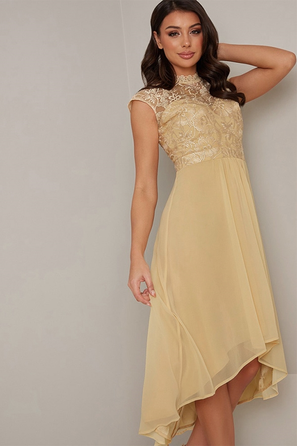 Yellow Crochet Dipped Hem Dress