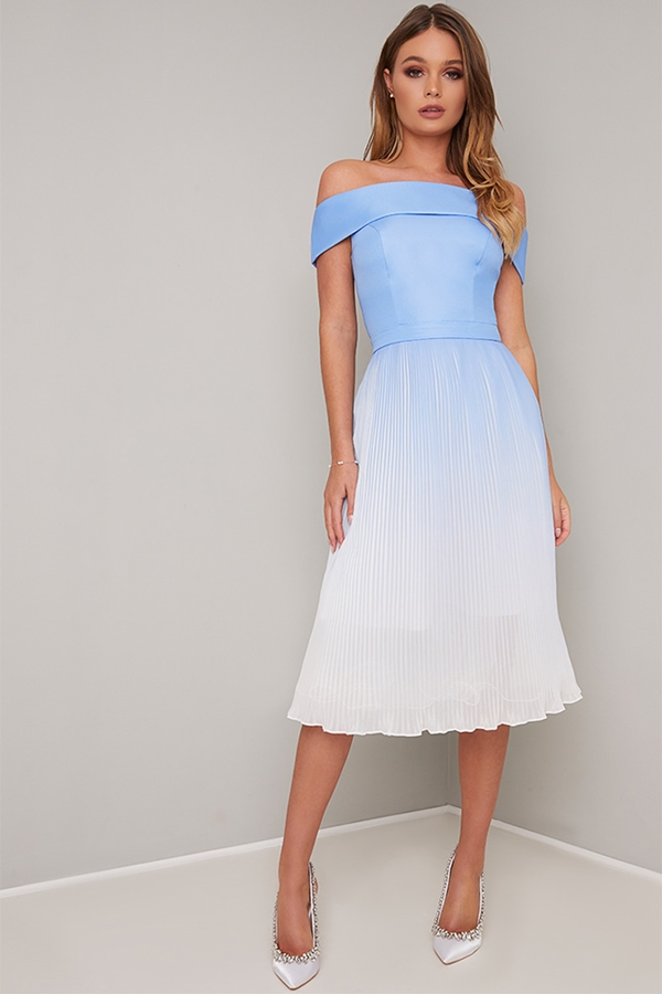 Blue Ombre Bardot Pleated Skirt Dress