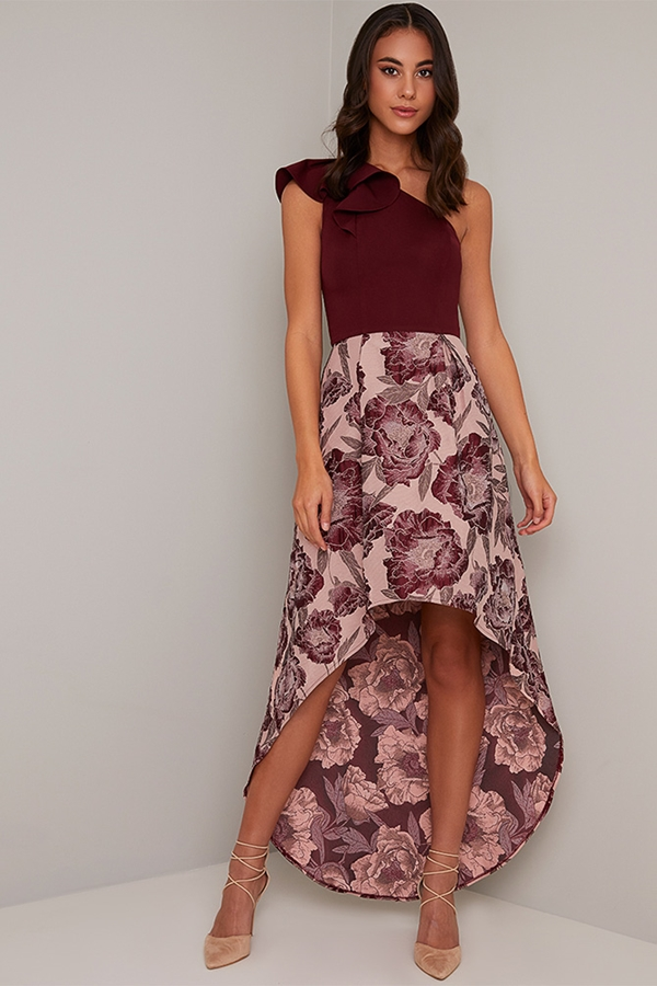 One Shoulder Jacquard Floral Print Dress
