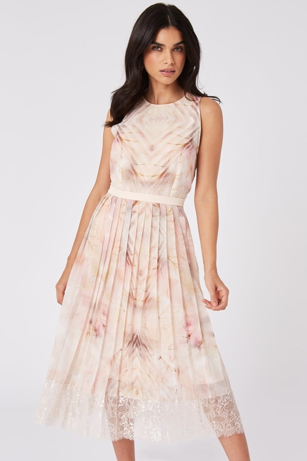 Print Pleated Lace Trim Dress