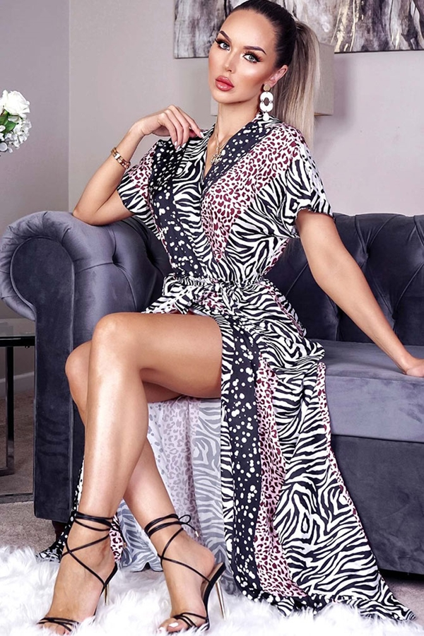 Animal Print Satin Wrap Maxi Dress