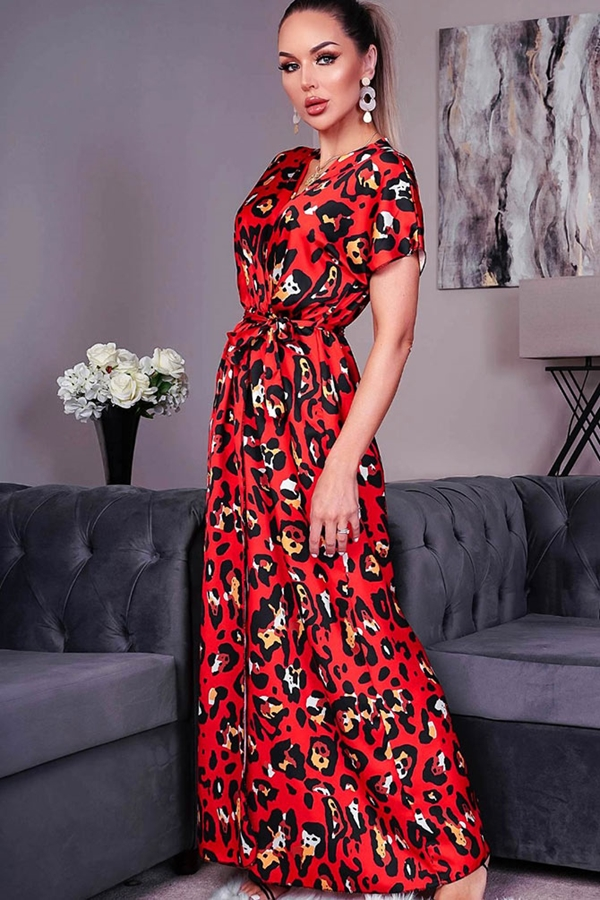 Red Animal Print Satin Wrap Maxi Dress