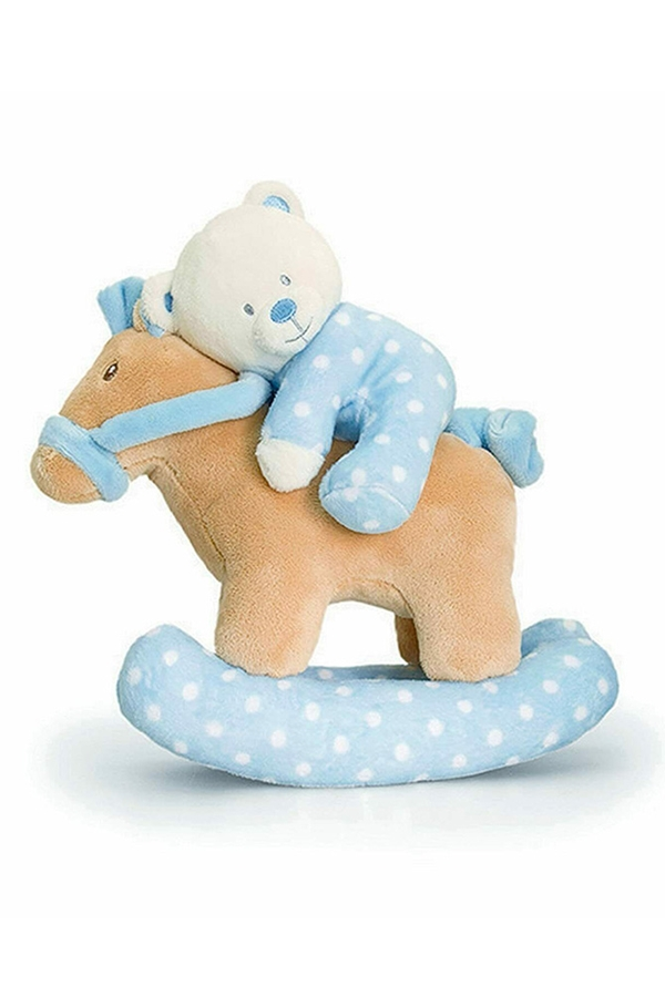 Baby Teddy Bear on Musical Rocking Horse