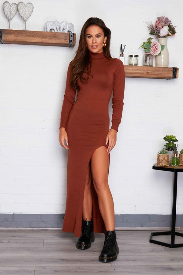 High Neck Maxi Dress with Split Detail