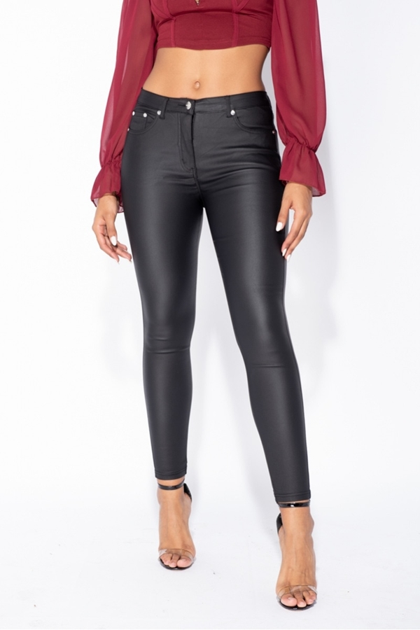 Skinny Jeans Mid Rise Coated