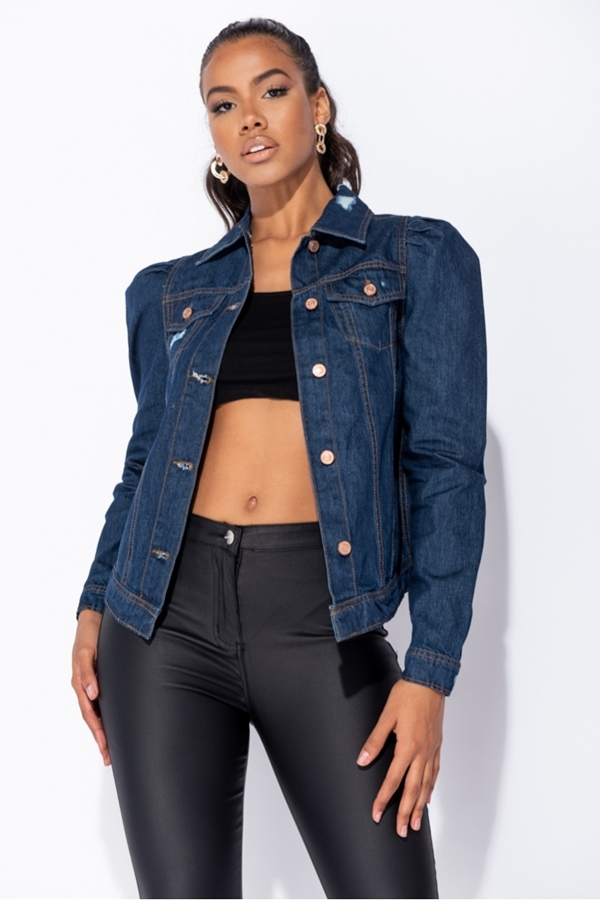 Denim Jacket With Distressed Puff Sleeve