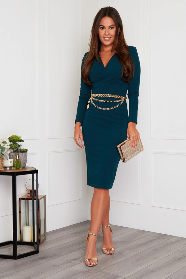 Long Sleeve Belted Midi Dress
