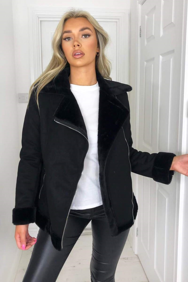 Faux Suede Aviator Jacket