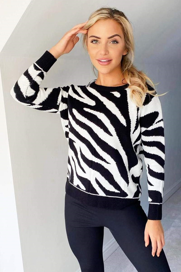 Animal Print Knitted Jumper