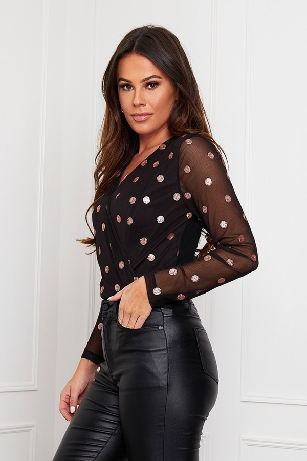Polka Dot Sequin Long Sleeve Bodysuit