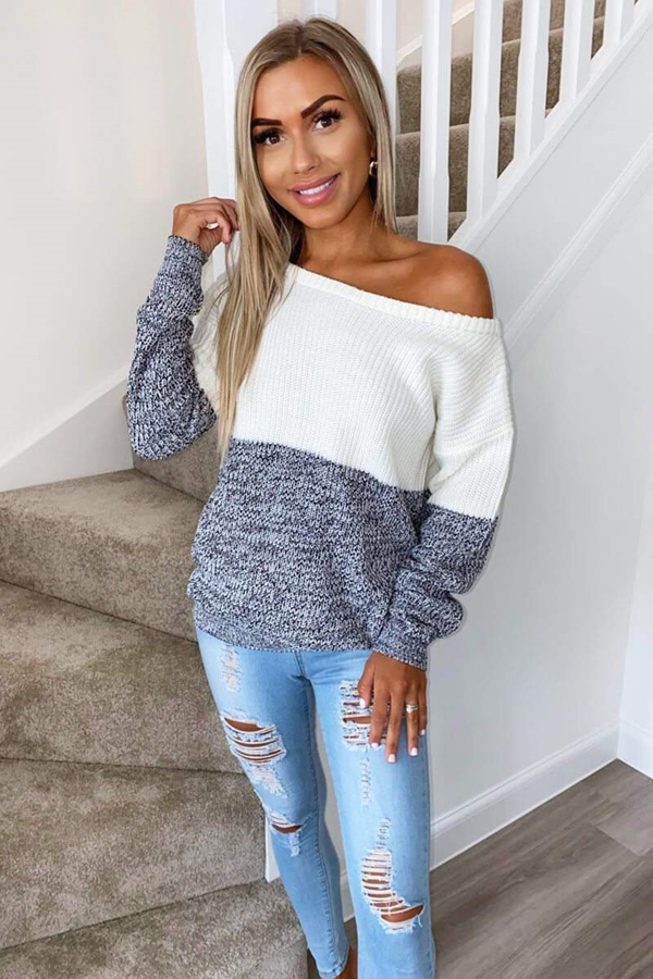 Ivory and Black Knit Off Shoulder Jumper
