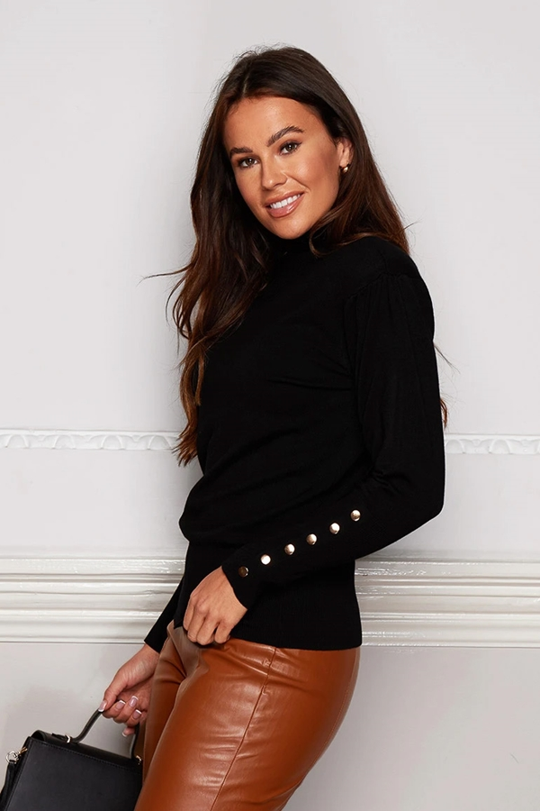 Padded Shoulder Button Detail Roll Neck Jumper
