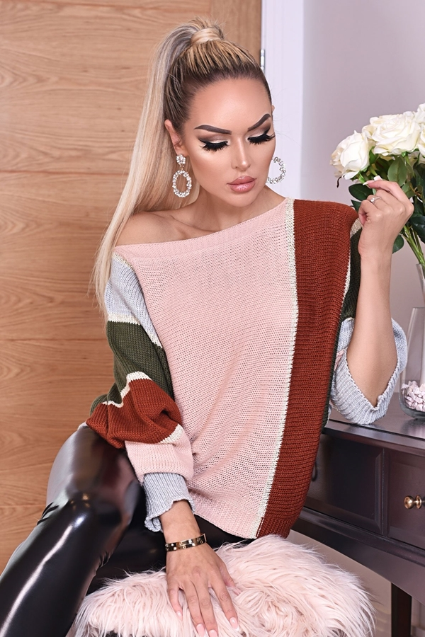 Italian Colour Block Batwing Knitted Jumper