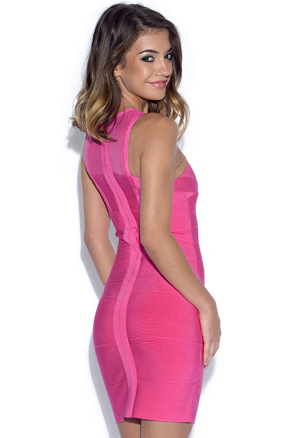 Pink Fuscia Mini Bandage Dress
