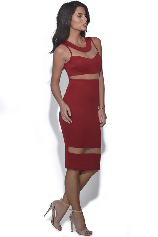 Cut Out Mesh Bodycon Dress