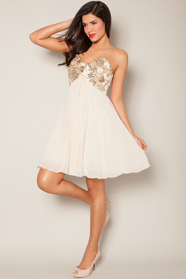Little Mistress Embellished Bandeau Prom Dress