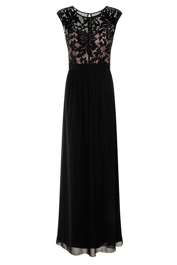 Little Mistress Floral Flock Maxi Dress
