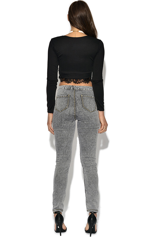 Girls on Film Grey High Waisted Skinny Jeans
